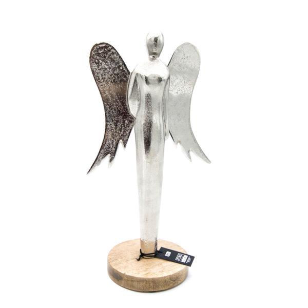 Engel aus Aluminium mit Holz Sockel von PTMD