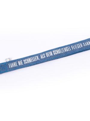 Jeans Schlüsselband von Good old Friends - Fahr nie schneller als dein Schutzengel fliegen kann