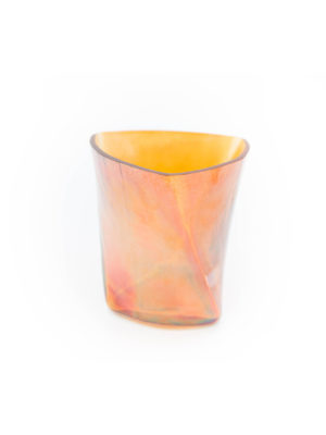 Windlicht aus Glas orange / gold