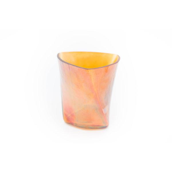 Windlicht aus Glas orange / gold
